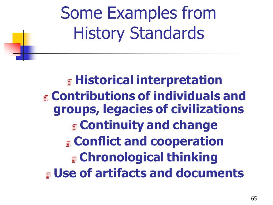Some Examples from History Standards