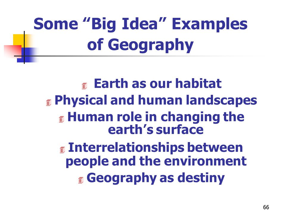 Some Big Idea Examples of Geography