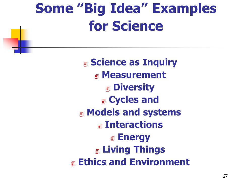 Some Big Idea Examples for Science Ethics and Environment