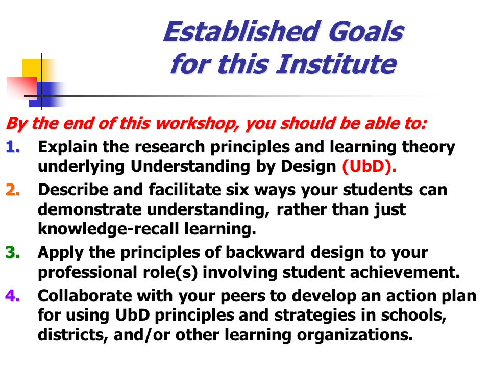 Established Goals for this Institute