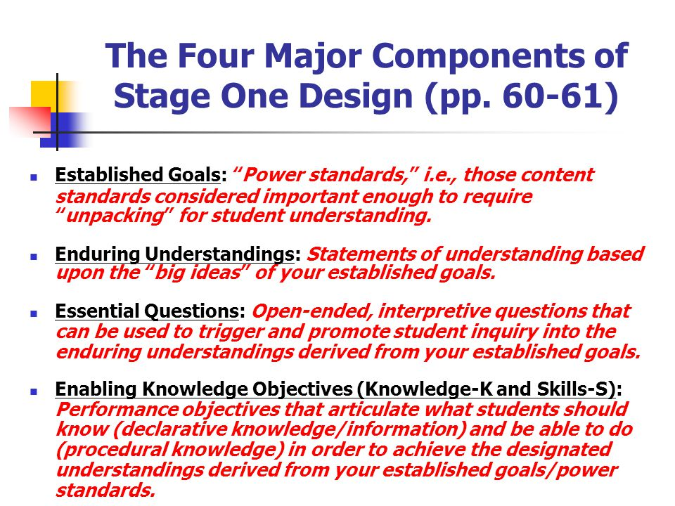 The Four Major Components of Stage One Design (pp. 60-61)