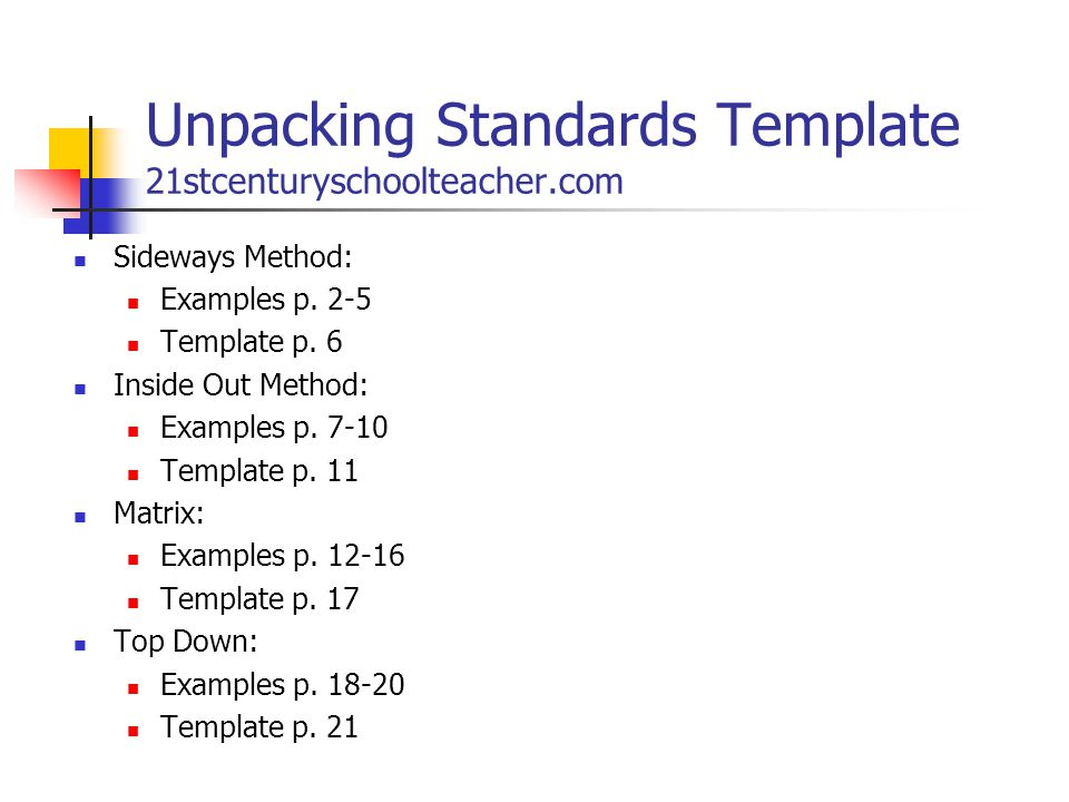 Unpacking Standards Template 21stcenturyschoolteacher.com