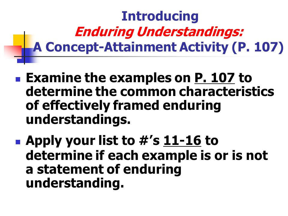 Introducing Enduring Understandings: A Concept-Attainment Activity (P