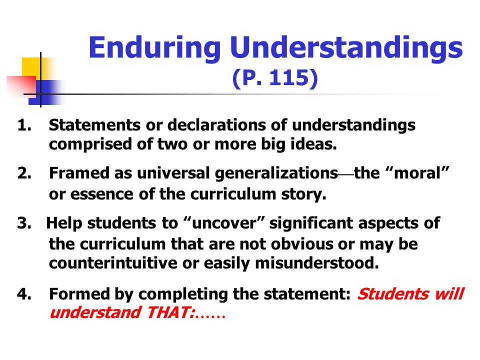 Enduring Understandings (P. 115)