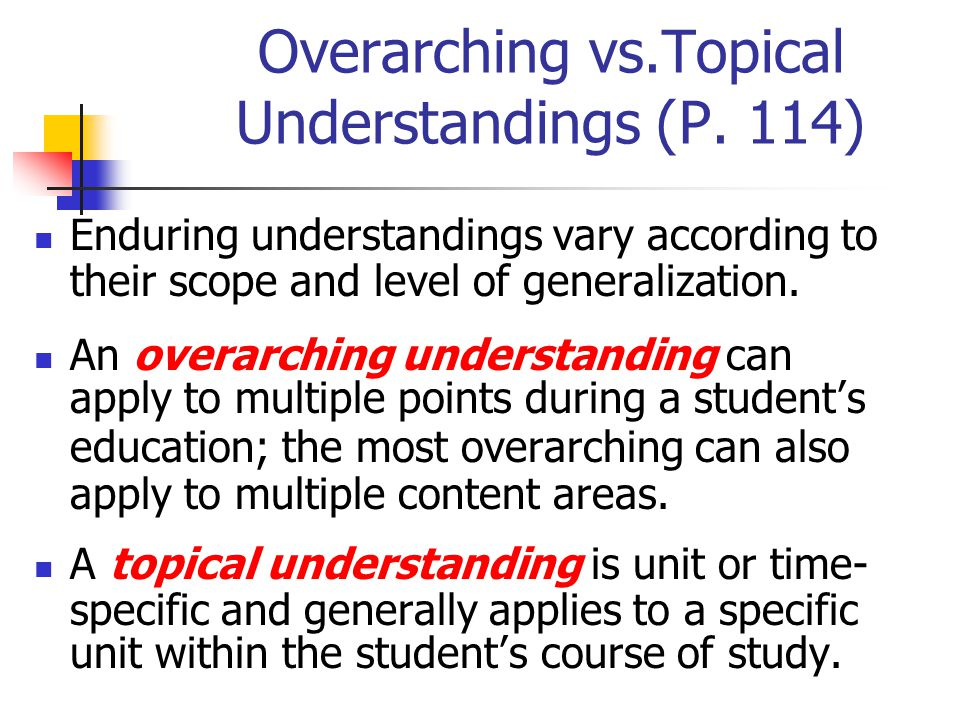 Overarching vs.Topical Understandings (P. 114)