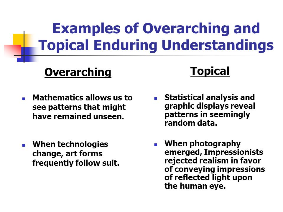 Examples of Overarching and Topical Enduring Understandings