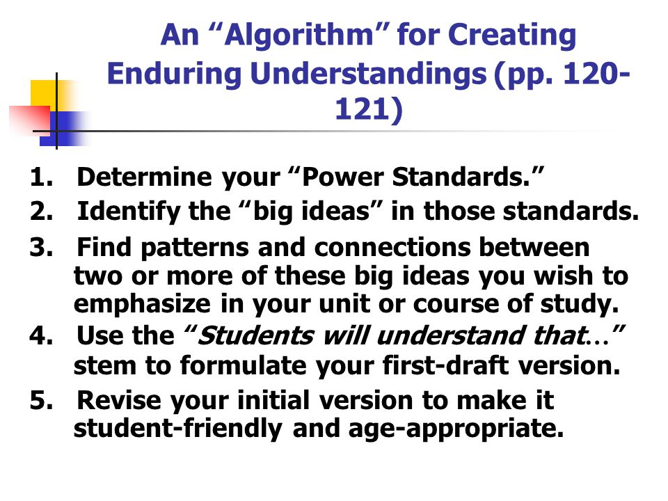 An Algorithm for Creating Enduring Understandings (pp. 120-121)