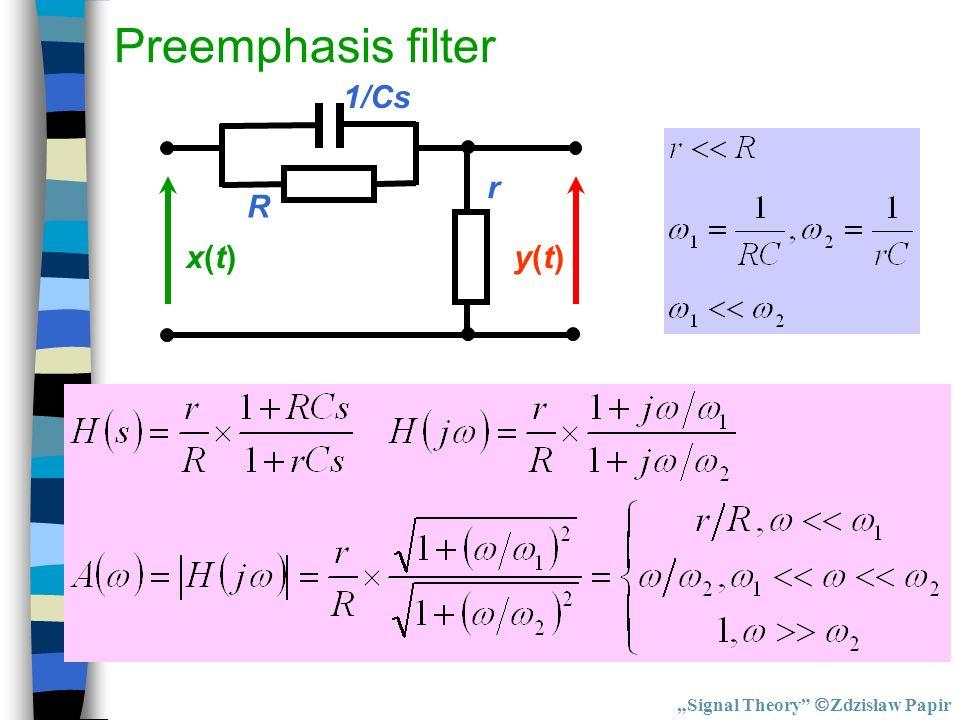 """Preemphasis filter R 1/Cs r x(t) y(t) """"Signal Theory Zdzisław Papir"""
