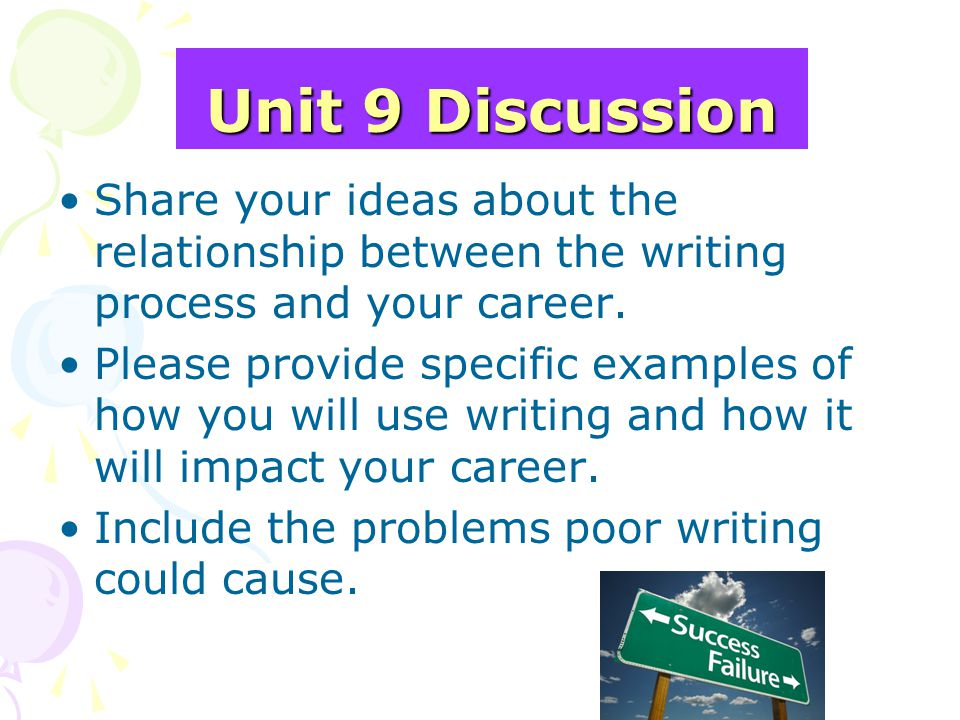 Unit 9 Discussion Share your ideas about the relationship between the writing process and your career.