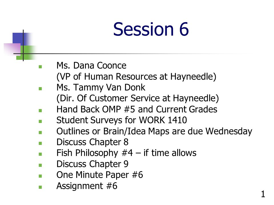 Session 6 Ms. Dana Coonce (VP of Human Resources at Hayneedle)
