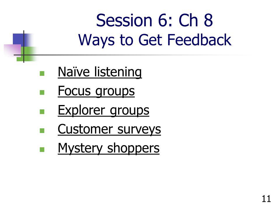 Session 6: Ch 8 Ways to Get Feedback