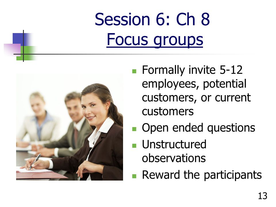 Session 6: Ch 8 Focus groups