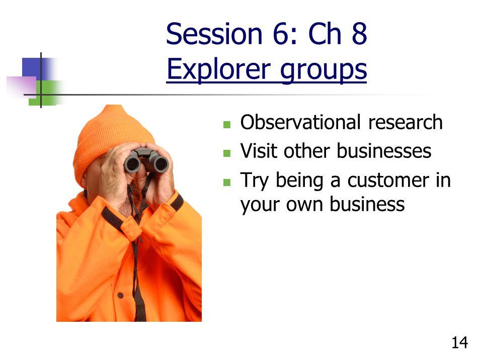 Session 6: Ch 8 Explorer groups