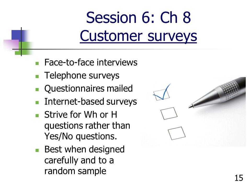 Session 6: Ch 8 Customer surveys
