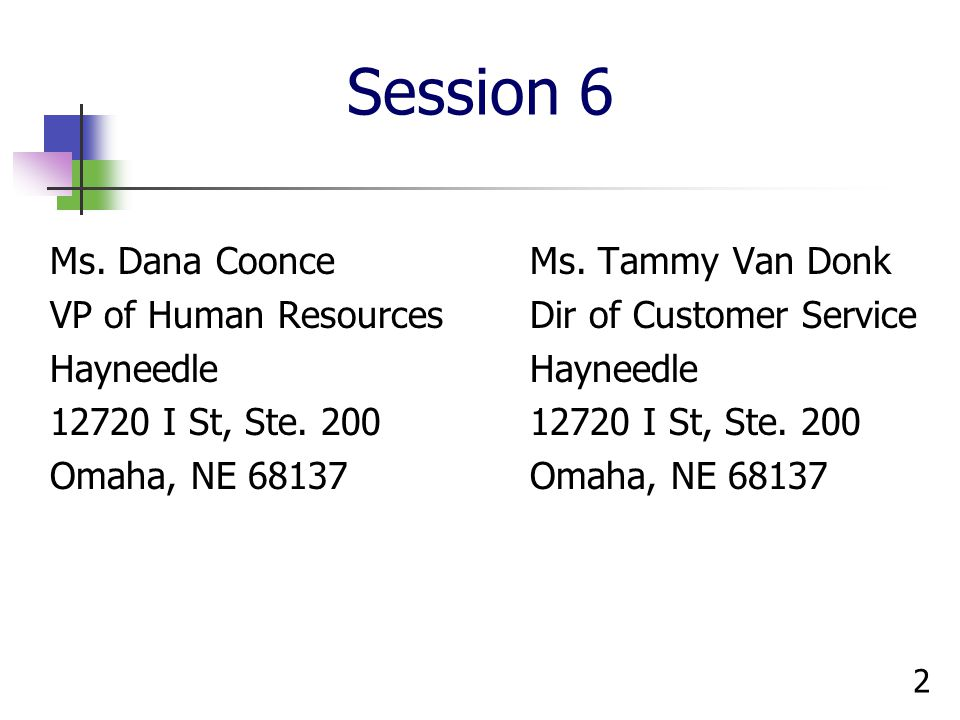 Session 6 Ms. Dana Coonce Ms. Tammy Van Donk