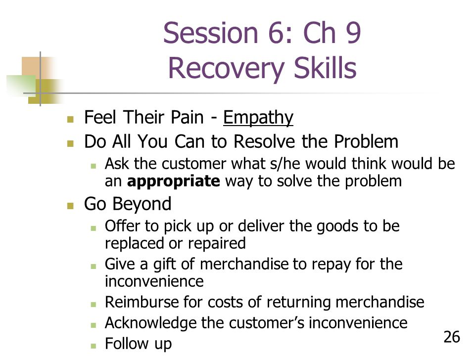 Session 6: Ch 9 Recovery Skills
