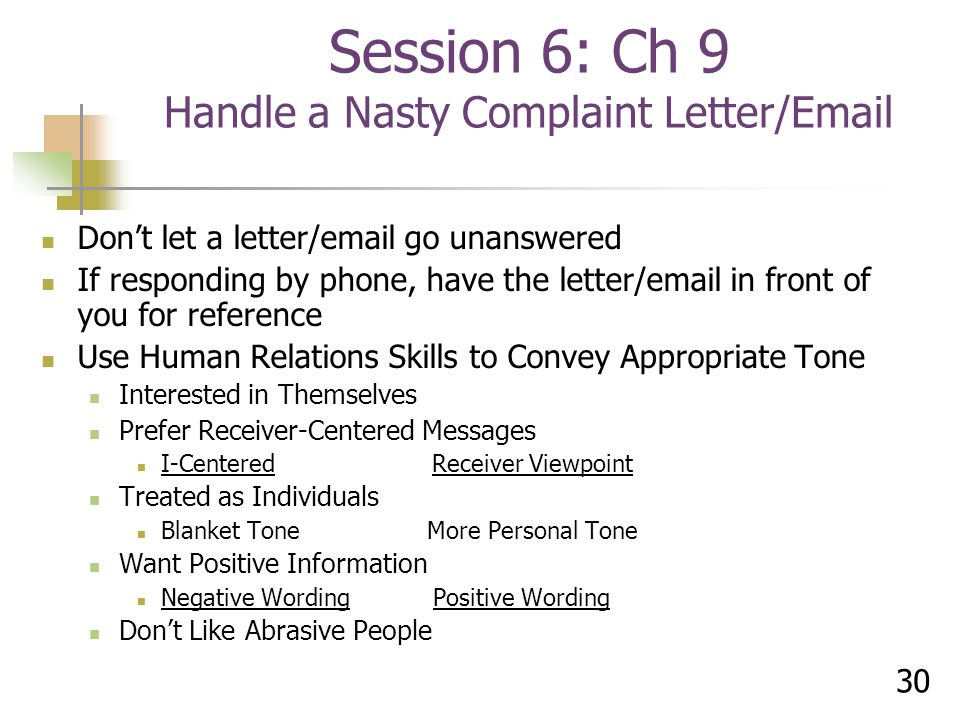 Session 6: Ch 9 Handle a Nasty Complaint Letter/Email