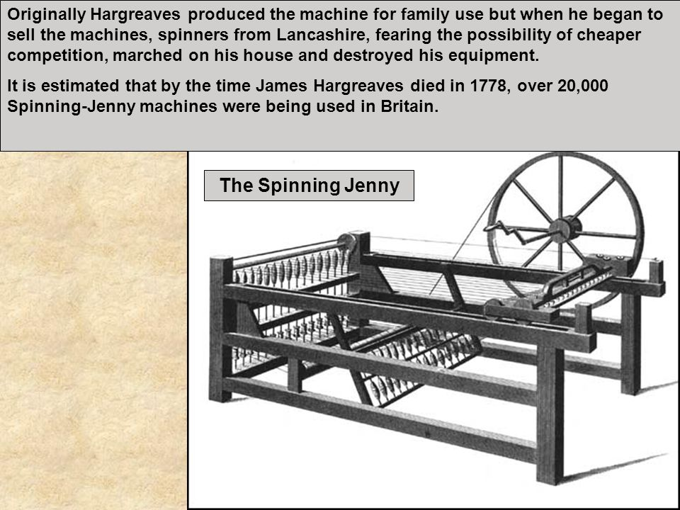 Originally Hargreaves produced the machine for family use but when he began to sell the machines, spinners from Lancashire, fearing the possibility of cheaper competition, marched on his house and destroyed his equipment.