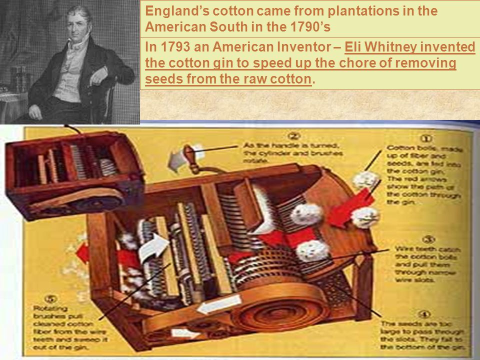 England's cotton came from plantations in the American South in the 1790's