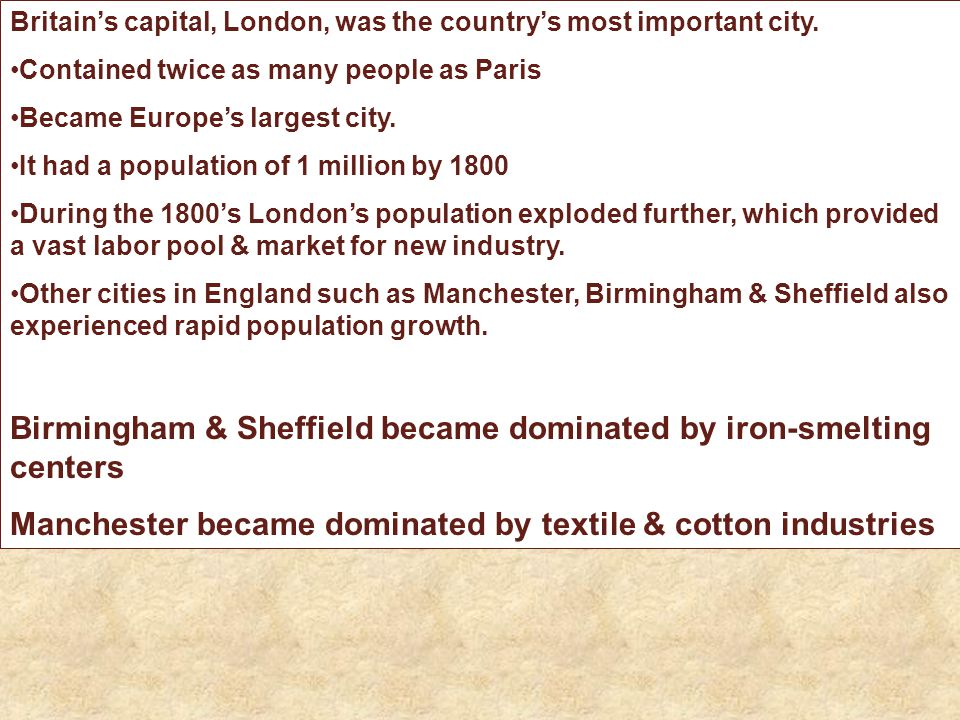 Birmingham & Sheffield became dominated by iron-smelting centers
