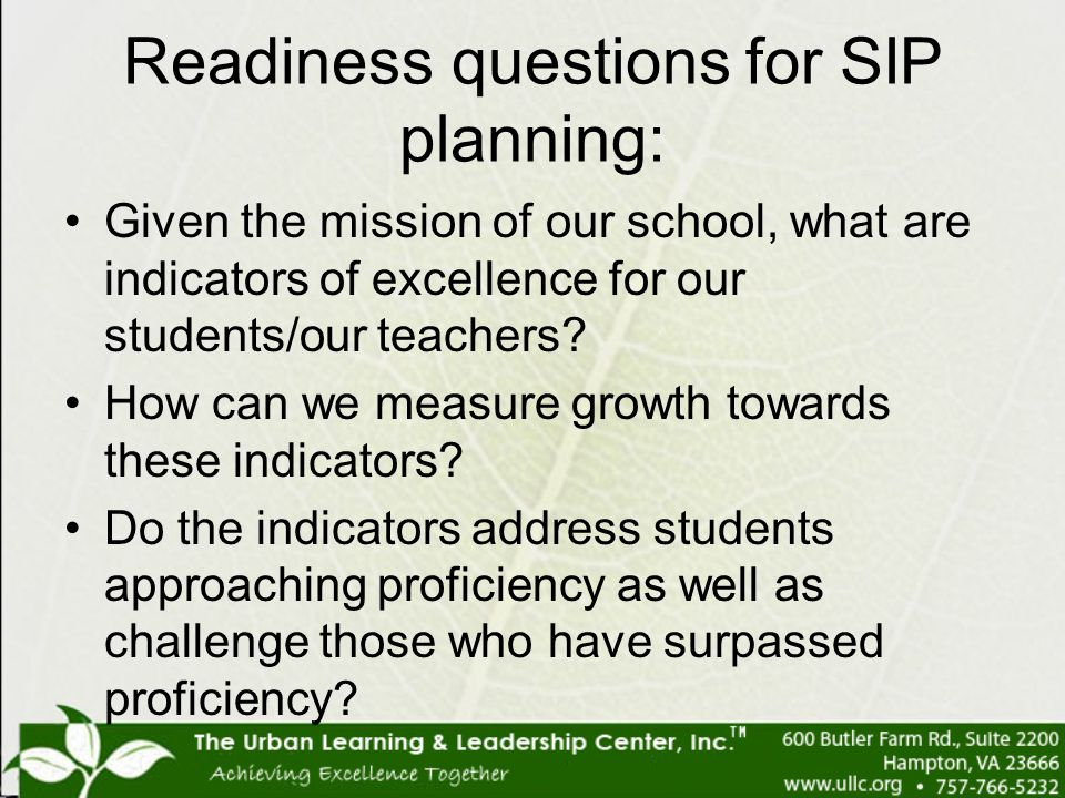 Readiness questions for SIP planning: