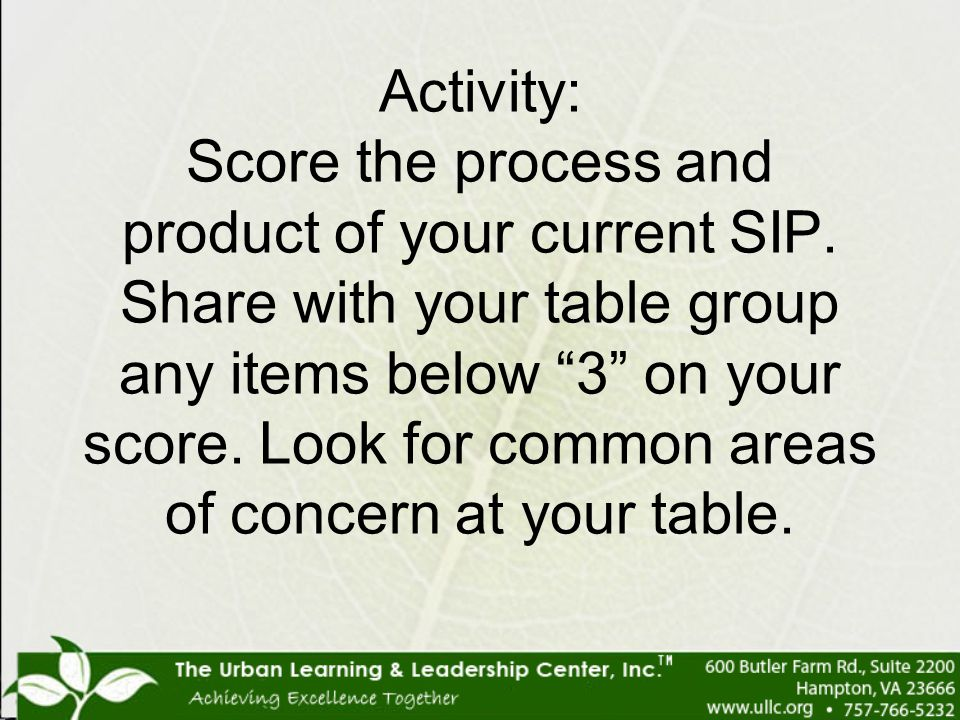 Activity: Score the process and product of your current SIP