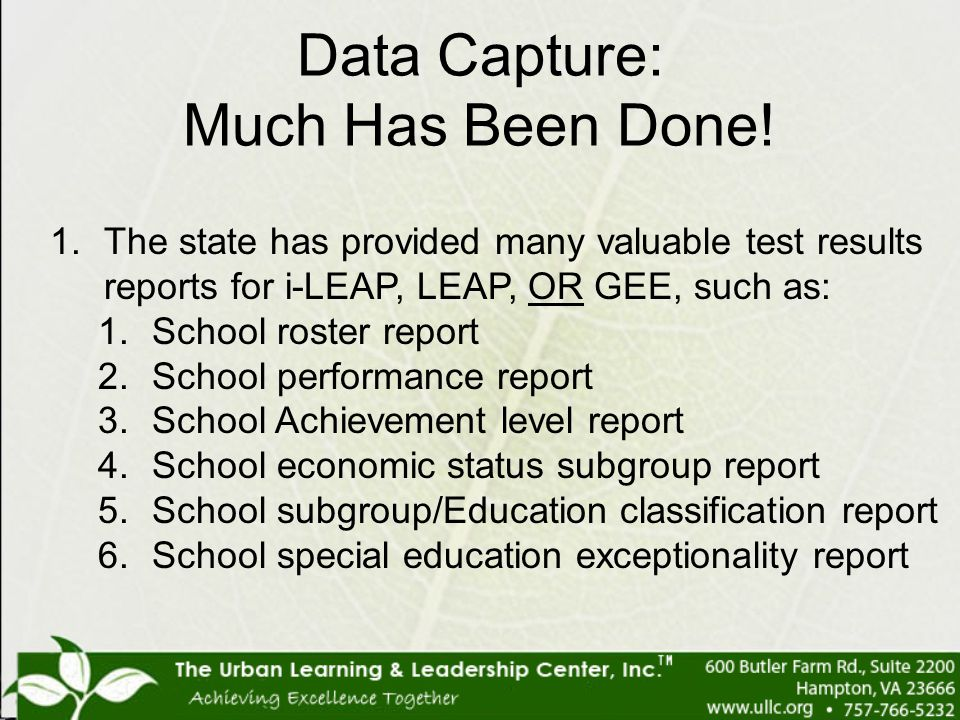 Data Capture: Much Has Been Done!