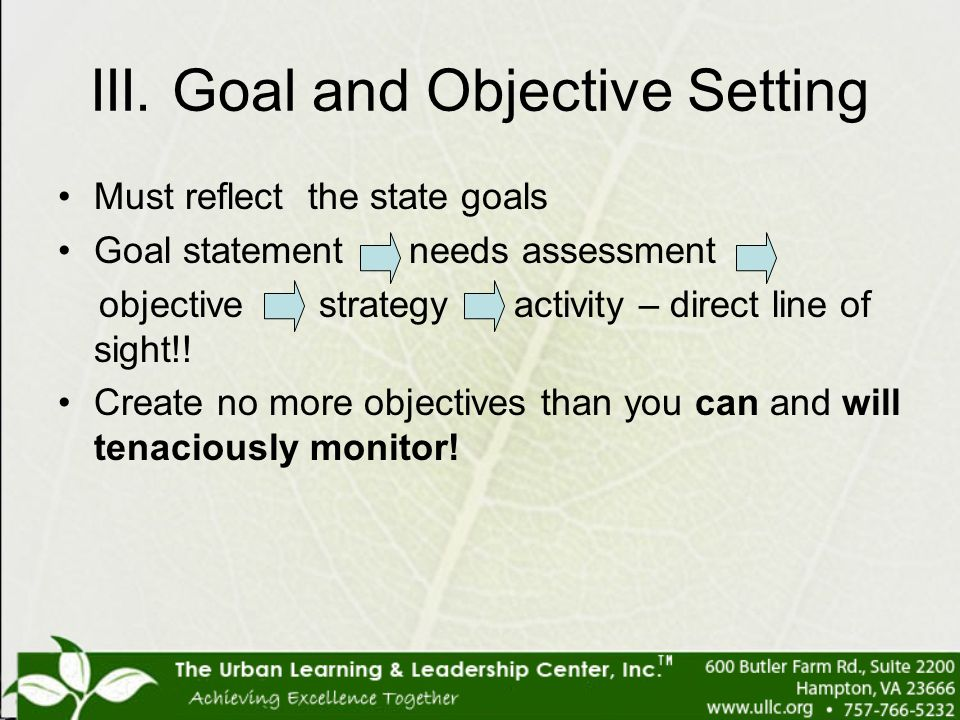 III. Goal and Objective Setting