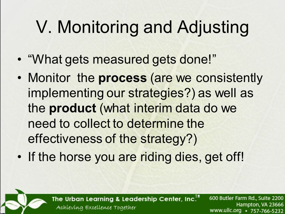 V. Monitoring and Adjusting