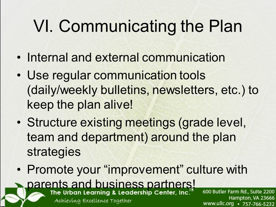 VI. Communicating the Plan