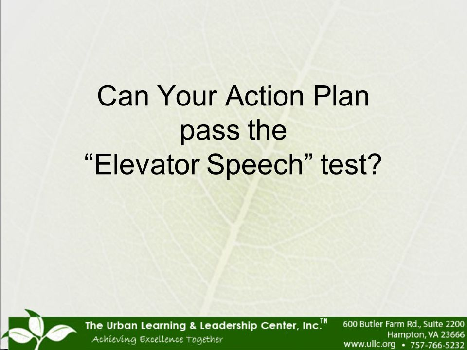 Can Your Action Plan pass the Elevator Speech test