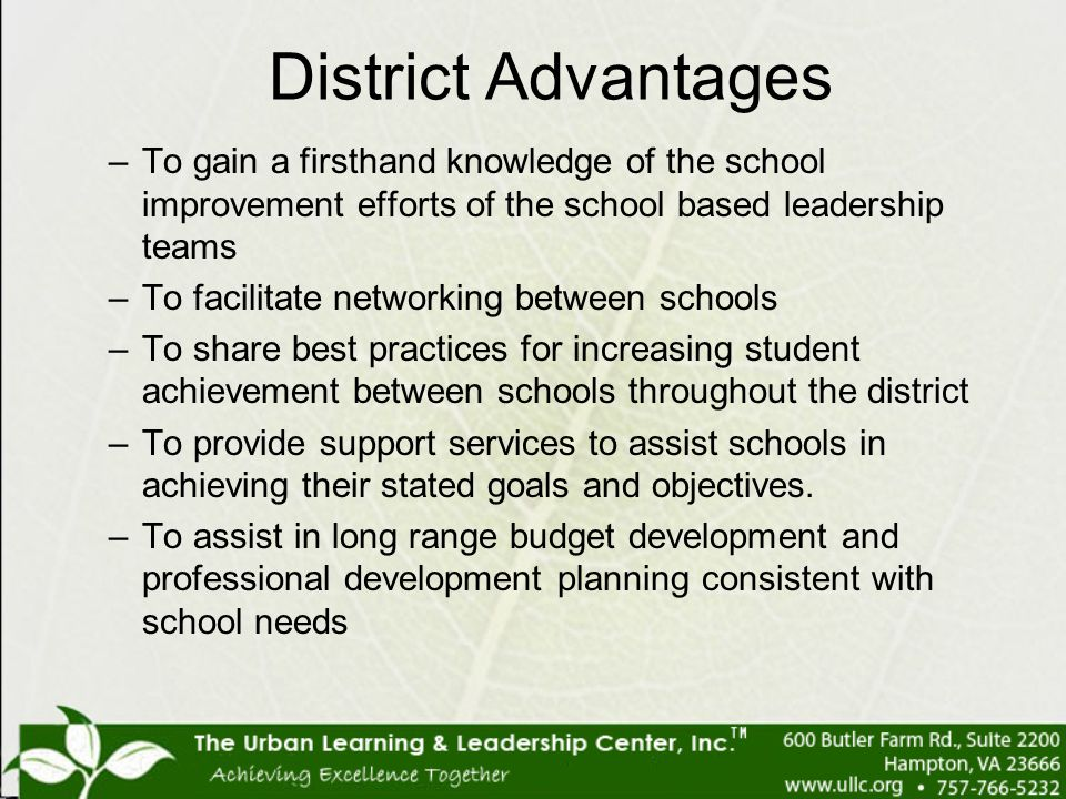 District Advantages To gain a firsthand knowledge of the school improvement efforts of the school based leadership teams.