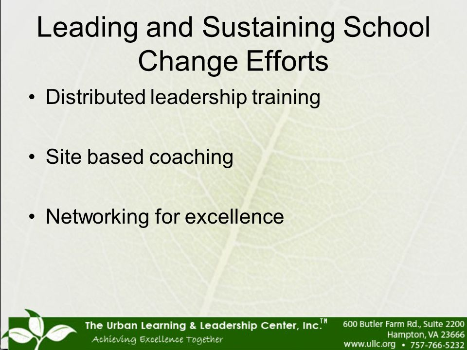Leading and Sustaining School Change Efforts