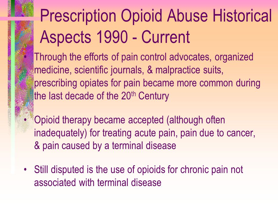 Prescription Opioid Abuse Historical Aspects 1990 - Current