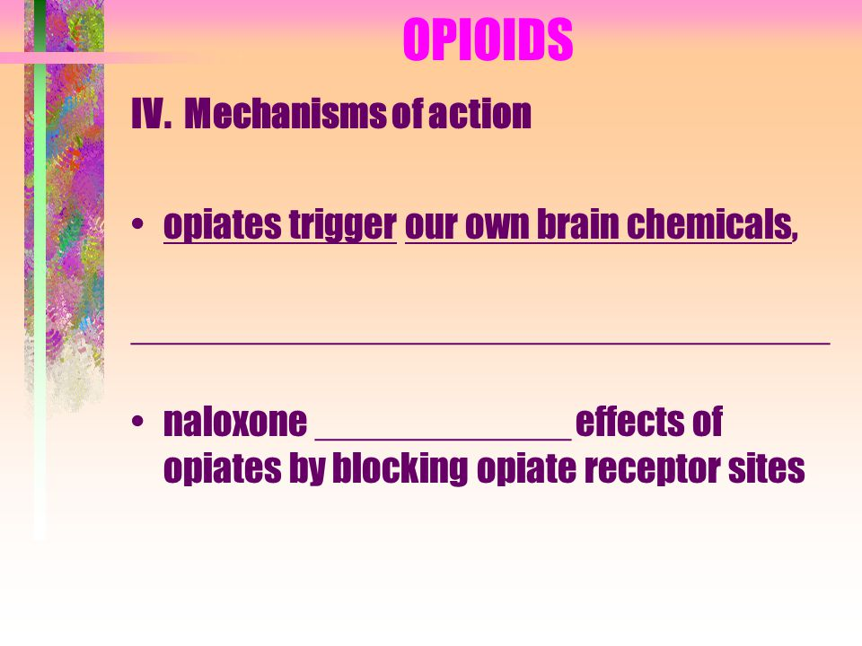 OPIOIDS IV. Mechanisms of action