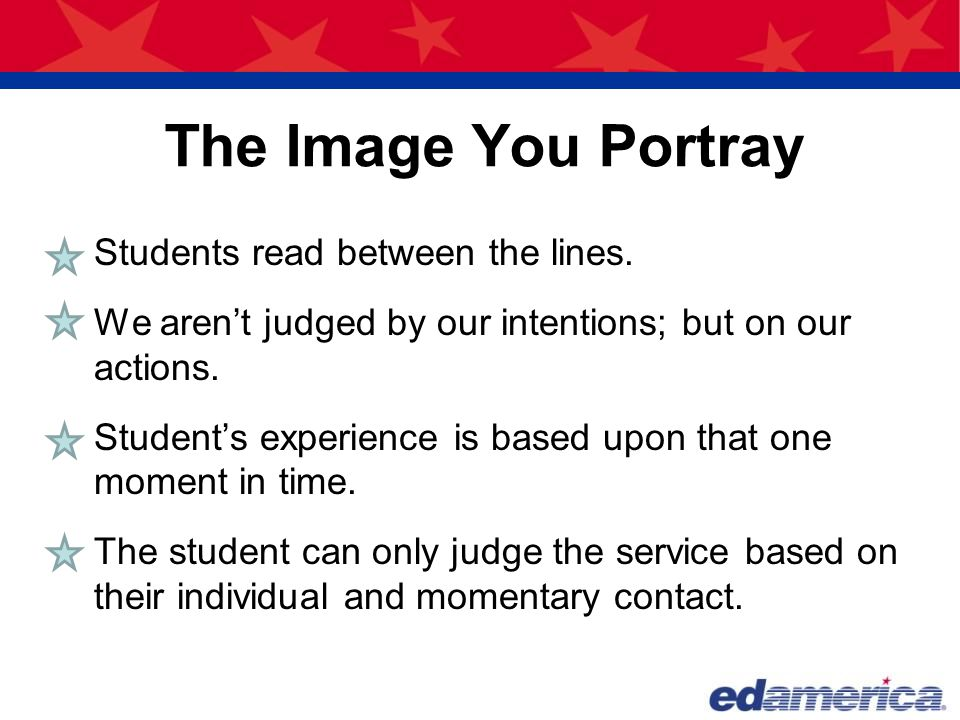 The Image You Portray Students read between the lines.