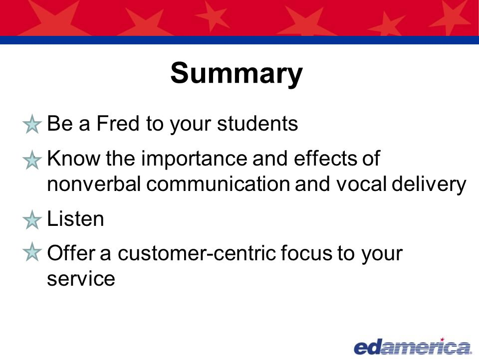 Summary Be a Fred to your students