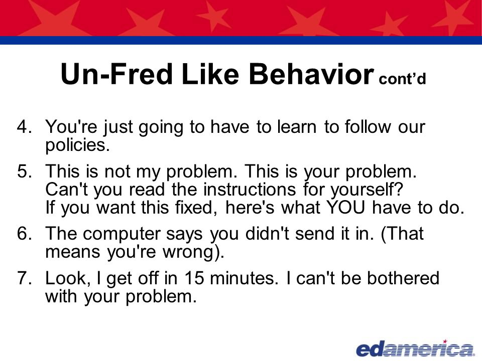 Un-Fred Like Behavior cont'd