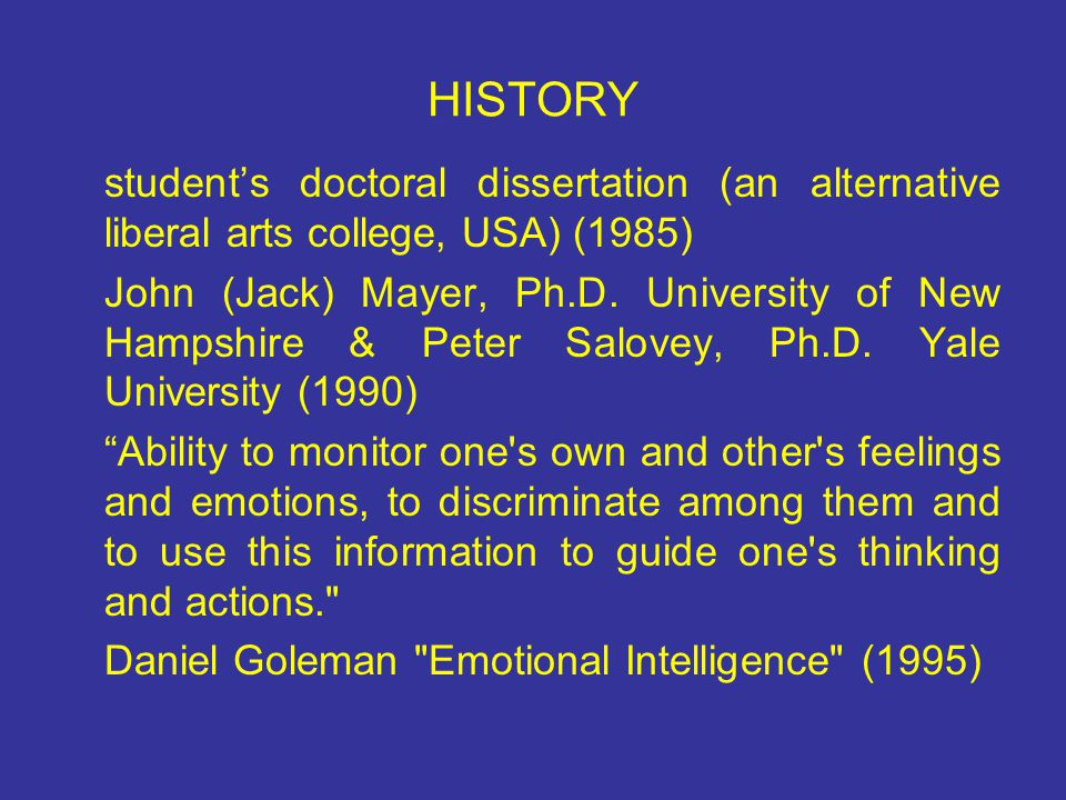 HISTORY student's doctoral dissertation (an alternative liberal arts college, USA) (1985)