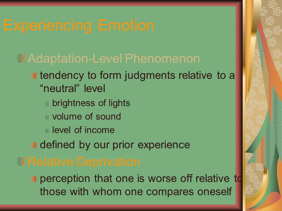 Experiencing Emotion Adaptation-Level Phenomenon Relative Deprivation