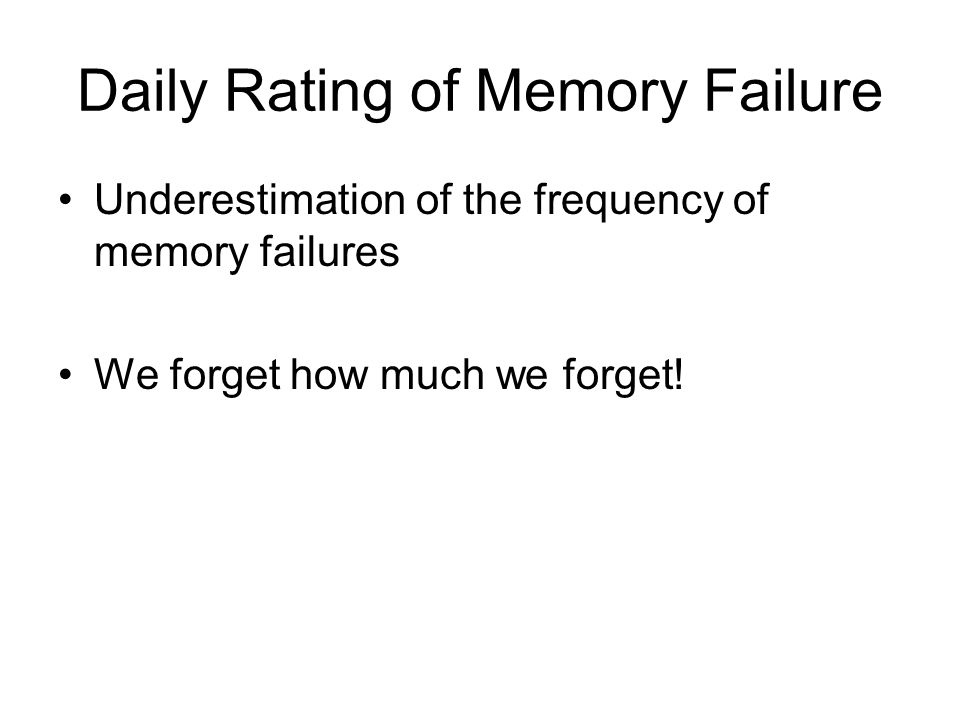 Daily Rating of Memory Failure