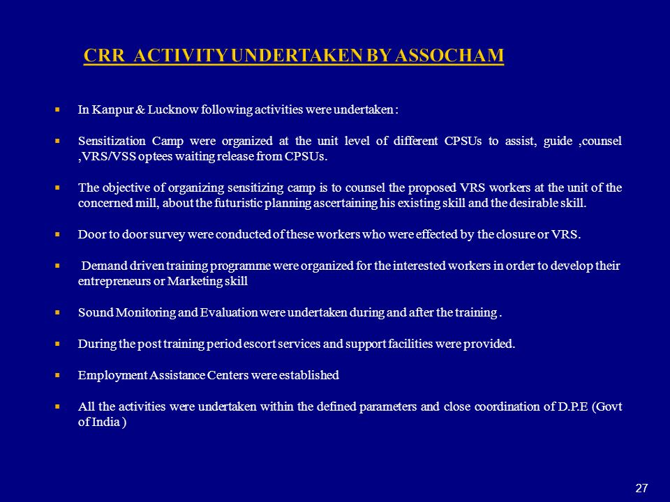 CRR ACTIVITY UNDERTAKEN BY ASSOCHAM