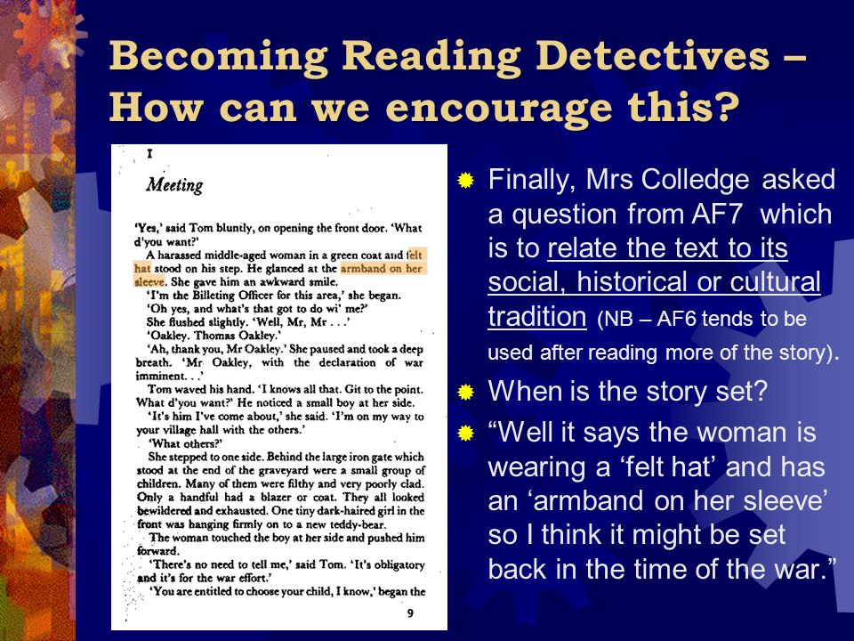 Becoming Reading Detectives – How can we encourage this