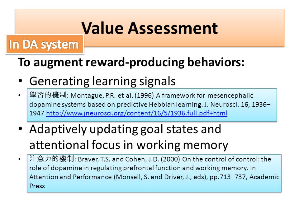 Value Assessment In DA system To augment reward-producing behaviors:
