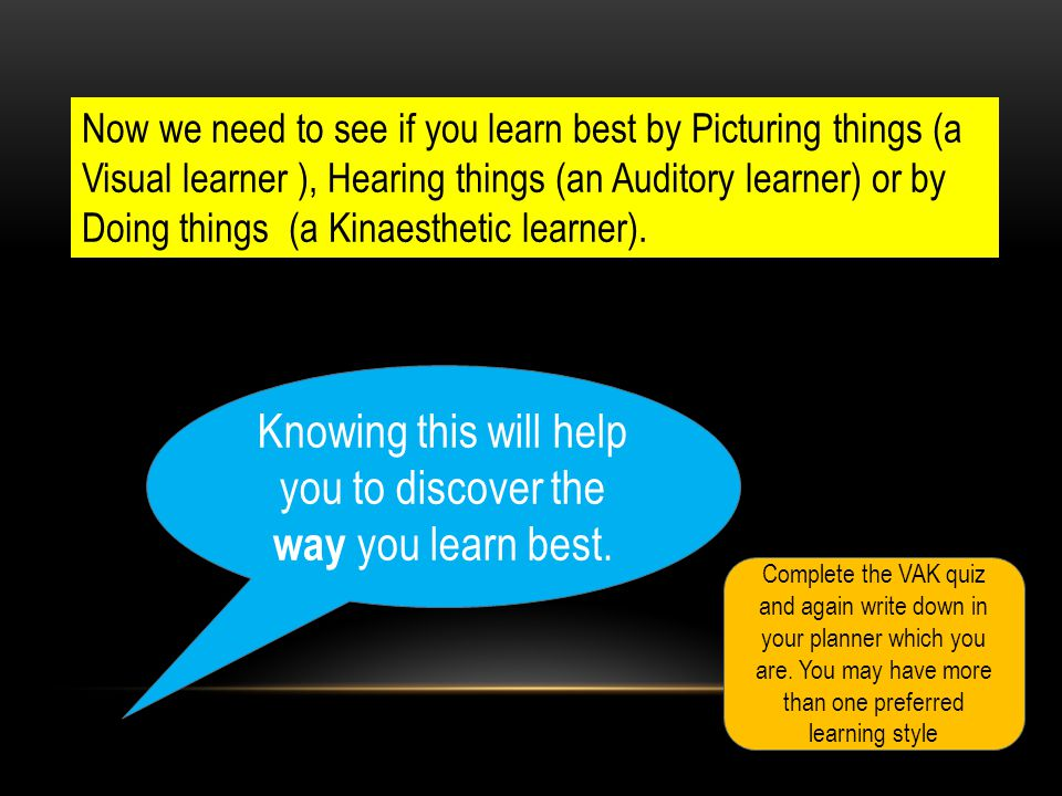Knowing this will help you to discover the way you learn best.