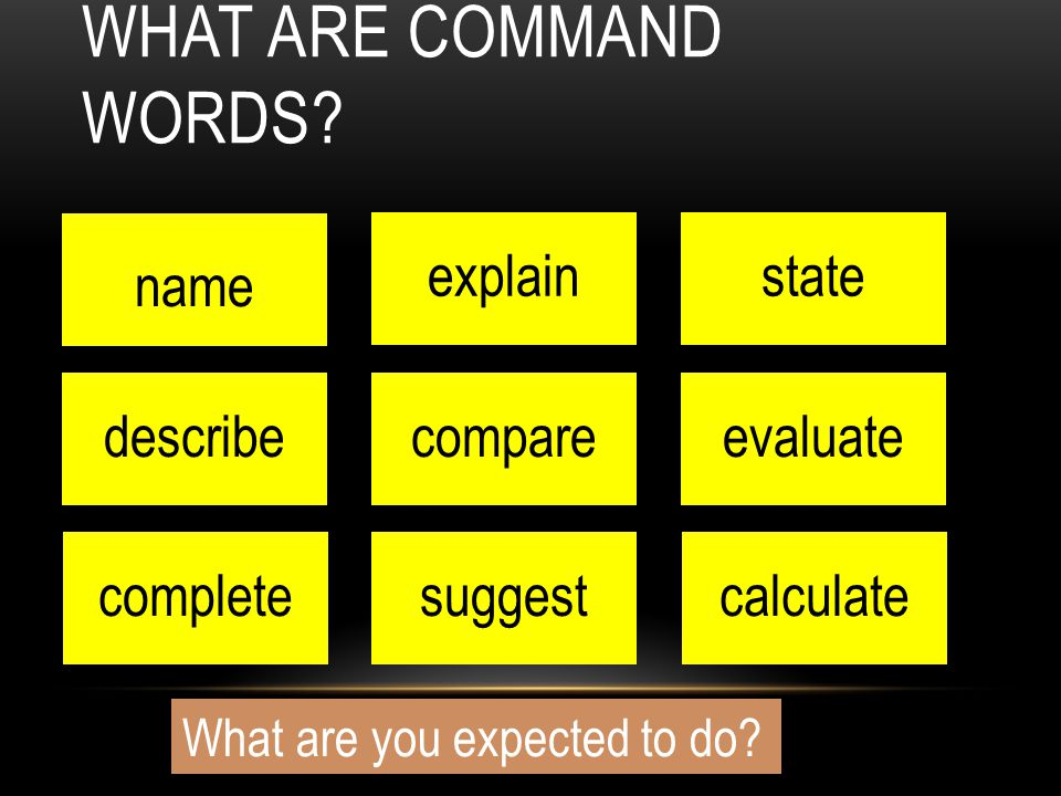 What are command words name explain state describe compare evaluate