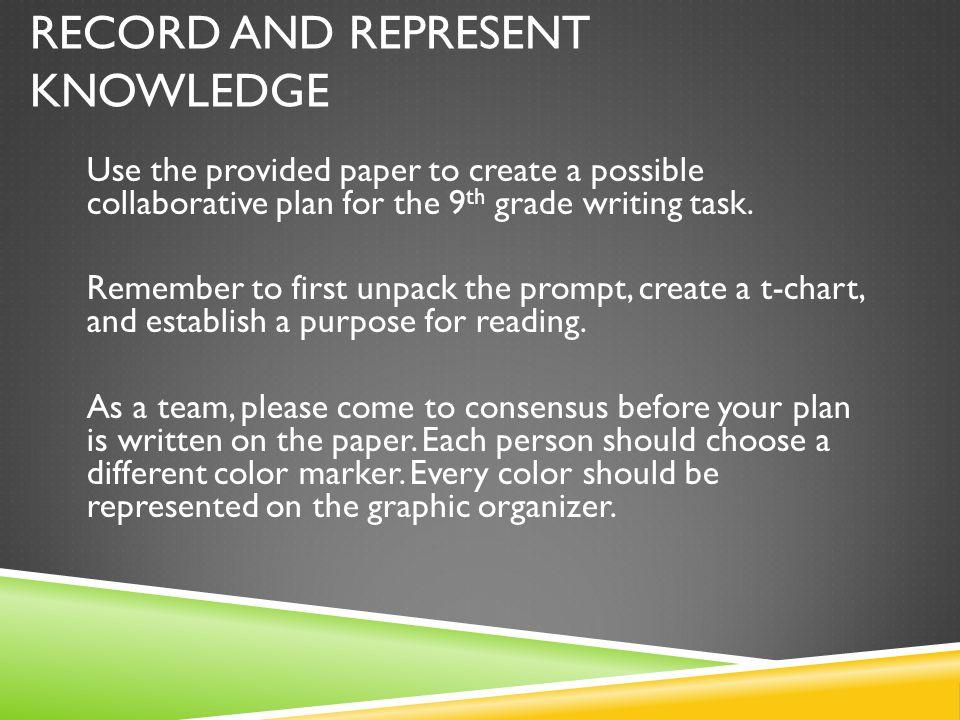 Record and Represent Knowledge