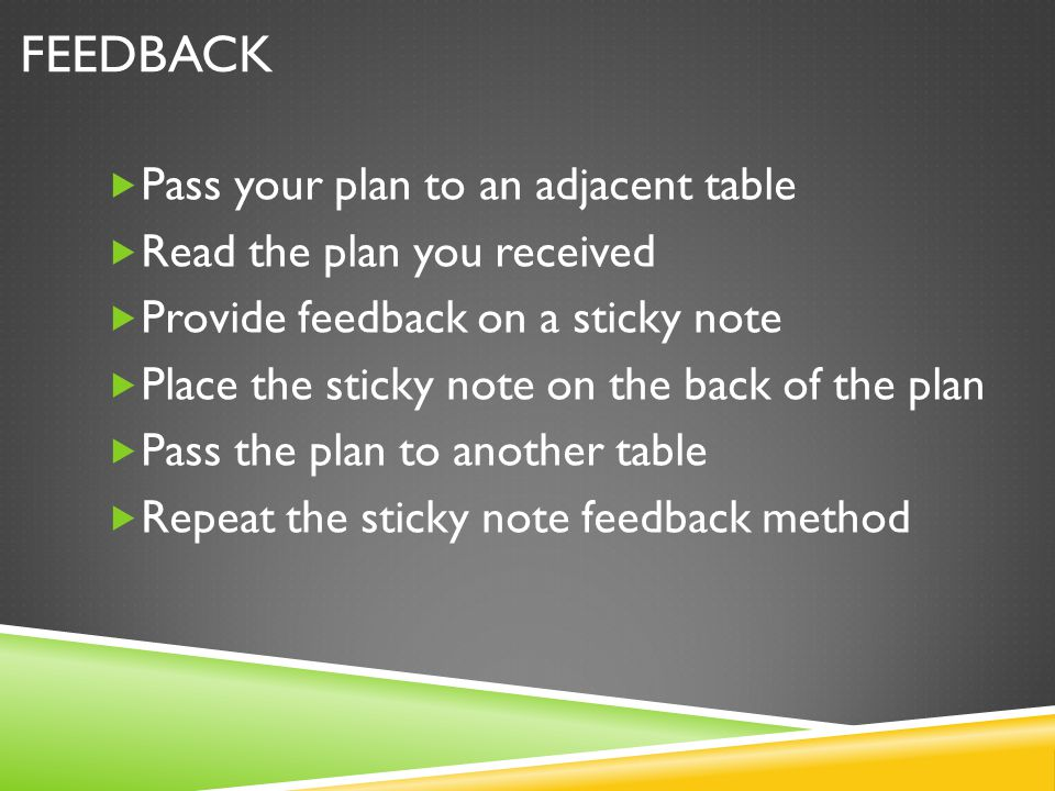 Feedback Pass your plan to an adjacent table