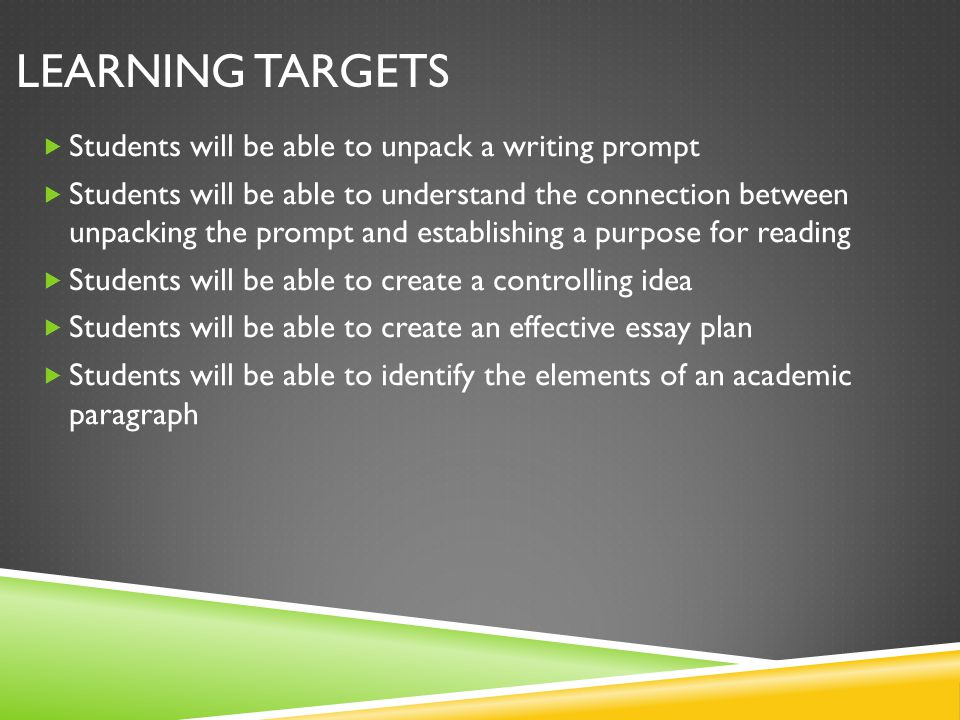 Learning Targets Students will be able to unpack a writing prompt