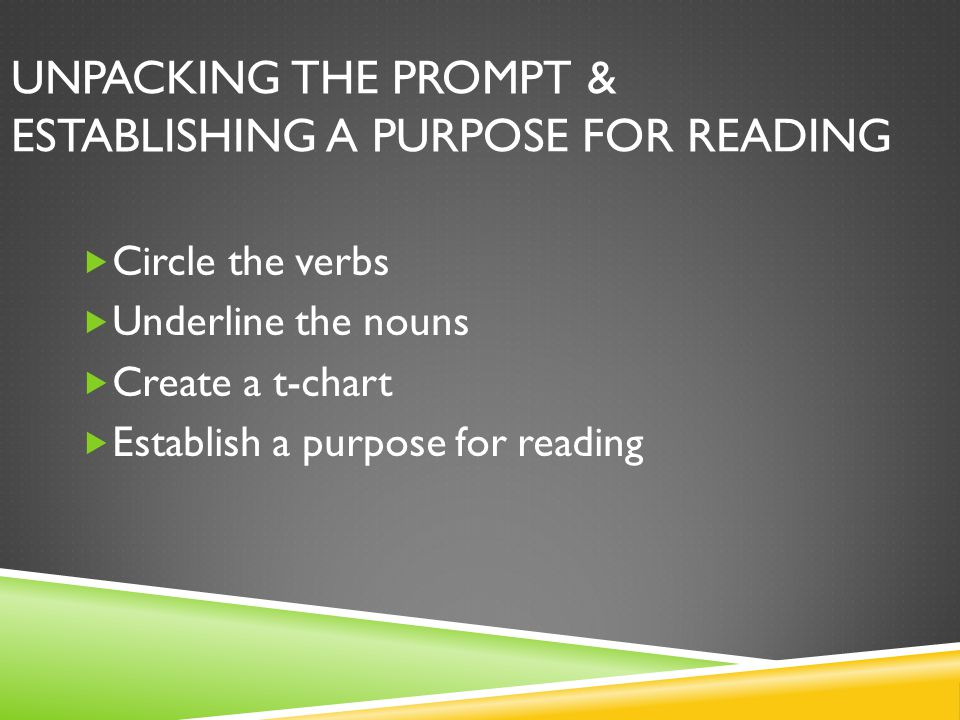 Unpacking the Prompt & Establishing a Purpose for Reading